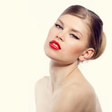 Retro woman with red lips Stock Photo