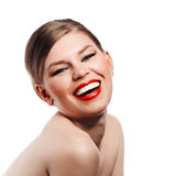 Retro woman with red lips Royalty Free Stock Photos