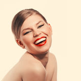 Retro woman with red lips Stock Image