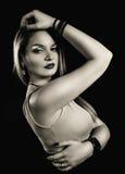 Retro woman sepia portrait Stock Images