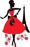 Retro woman silhouette. Retro woman red and black silhouette with Eiffel Tower Royalty Free Stock Images