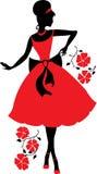 Retro woman silhouette Stock Image