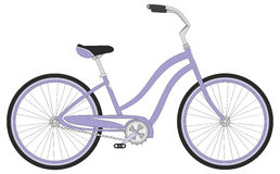 Retro woman sport bicycle on a white background, vector Stock Image