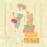 Retro woman with suitcases. Vector retro woman with suitcases Stock Photos