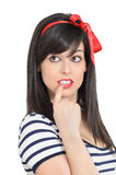 Retro Woman Taking a Decision Stock Images