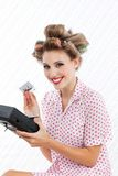 Retro Woman with Tape Recorder Royalty Free Stock Images