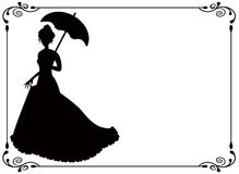 Retro woman with umbrella and frame. Silhouette of a woman with umbrella and long dress umbrella and vintage frame with swirls royalty free illustration