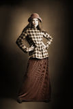 Retro woman in vintage clothes Stock Photos