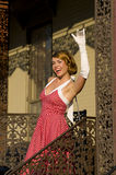 Retro woman waiving Royalty Free Stock Photography