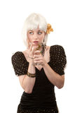 Retro woman with white hair Stock Image