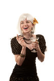 Retro woman with white hair Stock Images