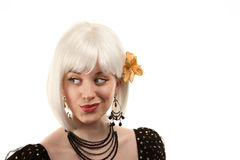 Retro woman with white hair Royalty Free Stock Image