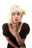 Retro woman with white hair Stock Photos