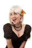Retro woman with white hair Stock Photo