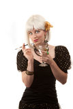 Retro woman with white hair Stock Photos