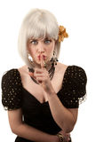 Retro woman with white hair Royalty Free Stock Image