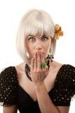 Retro woman with white hair Stock Photo