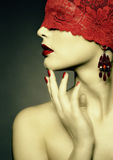 Retro woman wih red ribbon Royalty Free Stock Images