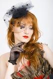 Retro Woman With Black Vintage Veil Stock Image