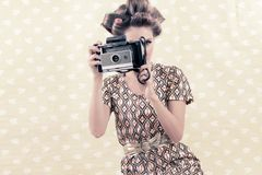 Retro Woman with 4x6 Camera Royalty Free Stock Photos
