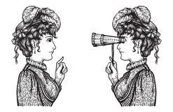 Retro women chat. Vector illustration of vintage engraved women - person pointing with index finger, showing something to person looking through binoculars with Royalty Free Illustration