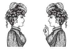 Retro women conversation. Vector illustration of vintage engraved women - person pointing with index finger, showing something to another, teaching or giving Stock Illustration