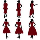 Retro women in dresses. An illustration of silhouette women in dresses vector illustration