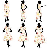 Retro women in dresses Stock Photography