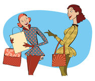 Retro women shopping. Vector illustration of retro style ladies with shopping bags Royalty Free Stock Photography