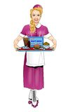 Retro Women Waitress Vector Stock Photography