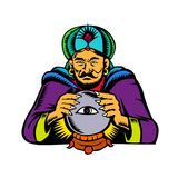 Fortune Teller With Crystal Ball Woodcut. Retro woodcut style illustration of fortune teller, medium, psychic, mystic,seer, soothsayer or clairvoyant scrying on Stock Photography