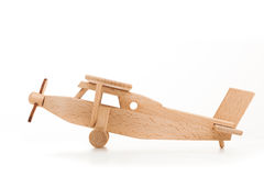 Retro wooden airplane isolated on white background Royalty Free Stock Photos