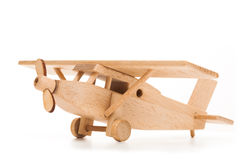 Retro wooden airplane isolated on white background Royalty Free Stock Image