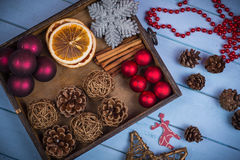 Retro wooden box with Christmas decorations Stock Image