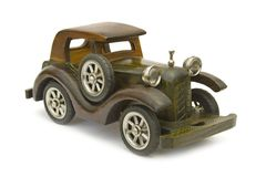 Retro wooden car (toy) Royalty Free Stock Image