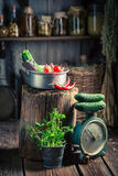 Retro wooden cellar with homemade supplies for winter. Rustic theme stock photography