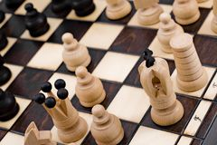 Retro wooden chess. With beautiful traditional Poland pieces Royalty Free Stock Image
