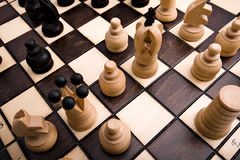 Retro wooden chess Royalty Free Stock Photography