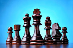 Retro wooden chess pieces Royalty Free Stock Image