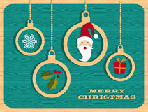 Retro wooden Christmas set Royalty Free Stock Photography
