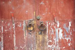 Retro wooden door and antique lock door chinese old style with joss stick at house in Chaozhou at Teochew in Guangdong, China stock photos