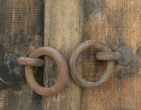 Retro wooden door and handles Royalty Free Stock Images