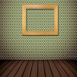 Retro wooden frame on native Thai style wall Royalty Free Stock Photography