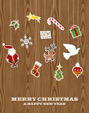 Retro wooden hanging Christmas set Royalty Free Stock Image