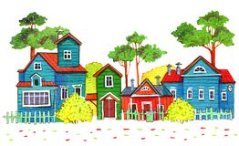 Retro wooden houses in a village. Hand drawn cartoon watercolor illustration. On white background stock illustration