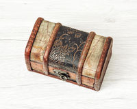 Retro wooden money chest for coins Stock Images