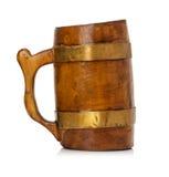 Retro wooden mug isolated on white background Stock Photos