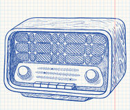 Retro wooden radio. Illustration Stock Images