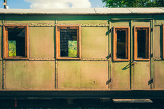 Retro wooden railway carriage at station of Serbia. Royalty Free Stock Image