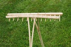 Retro Wooden Rake Handmade Stock Photo